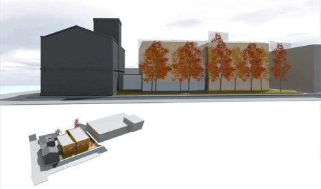Praeguste illustratsioonide pealt saab vähegi aimu, kuidas hakkaks hoone paiknema. Illustratsioonid on vaatega Raekoja tänavalt. Alumisel illustratsioonil on paremal Saaremaa kaubamaja hoone.