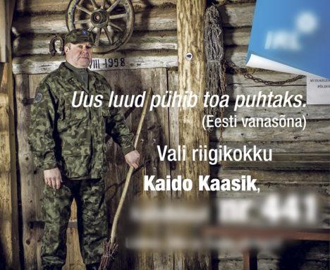 VORM JA VALIMISED: Kaido Kaasiku sõnul ei pea ta Kaitseliidu vormi häbenema. Kaitseliidu peastaap ütleb, et valimisplakatil vormis poseerida ei maksa. Kaido Kaasiku valimiskampaania foto