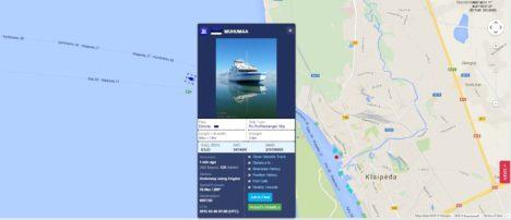 TEEKOND KODU POOLE: Parvlaev Muhumaa mõned minutid pärast väljasõitu Klaipedast Virtsu suunas. Allikas: Marinetraffic.com