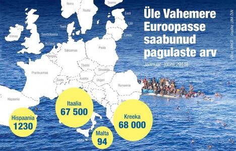 KATASTROOF: ÜRO Pagulaste Ameti (UNHCR) hinnangul on tänavu kuue kuuga kõikvõimalikke vahendeid kasutades üle Vahemere Euroopasse põgenenud üle 135000 pagulase Aafrikast ja Lähis-Idast, so palju enam kui Tartu linna jagu inimesi. Mullu samal perioodil oli see arv umbes 50000. Allikas: UNHCR