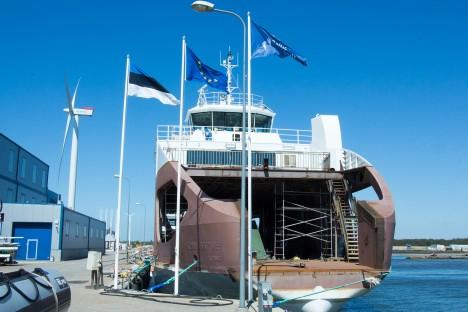 """VIRVE NASVAL: Tänavu maikuus seisis ehitusjärgus  """"Kihnu Virve"""" veel Nasval. Praegu ehitab Baltic Workboats seal täpselt samasugust laeva ka Saaremaa ja Hiiumaa vahelisele Triigi-Sõru liinile. IRINA MÄGI"""