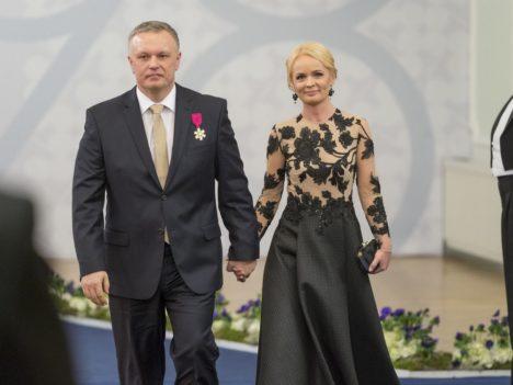 Maksu- ja tolliameti peadirektor Marek Helm ja Katria Helm. (Foto Andres Putting / presidendi kantselei)