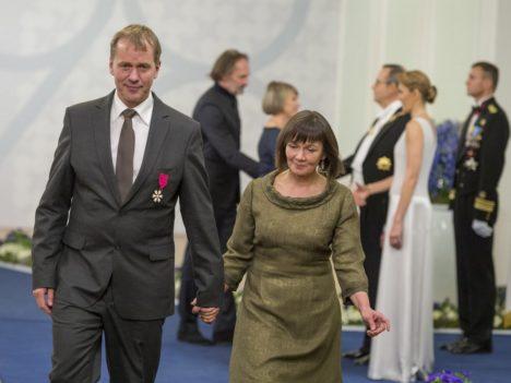 Vilsandlane Jaan Tätte koos abikaasa Margit Tättega. (Foto Andres Putting / Presidendi kantselei)