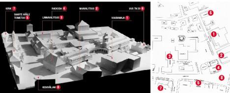 KESKUSE PLAAN: Raekoja taha jääb kaheosaline kaubanduskeskus, Pritsumaja kõrvale hotell. Enim püüab aga pilku massiivne kultuurikompleks. Parempoolne kaart kujutab Kuressaare kesklinna 1990. aastal. Vasakpoolsel maketil kujutatu jäi aga vaid plaaniks. EESTI ARHITEKTUURIMUUSEUM