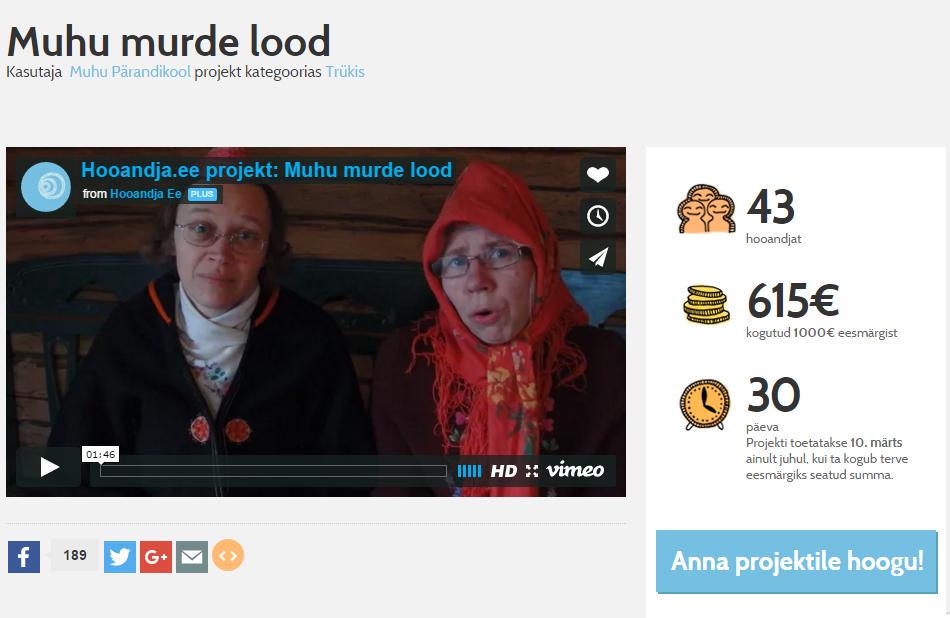 """Teose """"Muhu murde lood 2"""" tegijad koguvad ühisrahastusplatvormi Hooandja kaudu raha kogumiku trükkimiseks. Eesmärk on kokku saada 1000 eurot, millest eile pärastlõunaks oli rohkem kui pool juba koos. Projekti kirjelduses […]"""