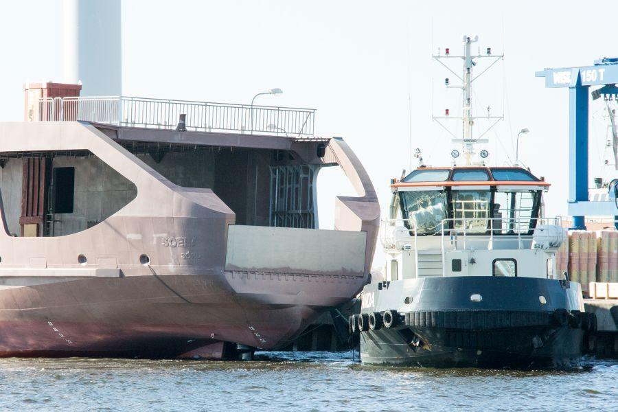 Triigi ja Sõru liinile valmiva uue parvlaeva Soela kere saabus viimaks Nasvale Baltic Workboatsi laevatehasesse, kus tööd selle kallal jätkuvad.