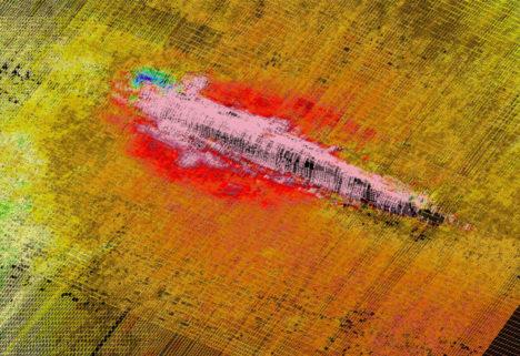 Lehviksonari pilt HMS Cassandra vraki leiukohast. Veeteede Amet.