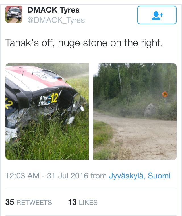 Tänaku jaoks palju ebaõnne kaasa toonud Soome ralli lõppes teepervel, kui tema auto 22. kiiruskatsel suurt kivi tabas ja auto teelt välja paiskas. Ralli viimast päeva alustas Tänak neljandalt kohalt, […]