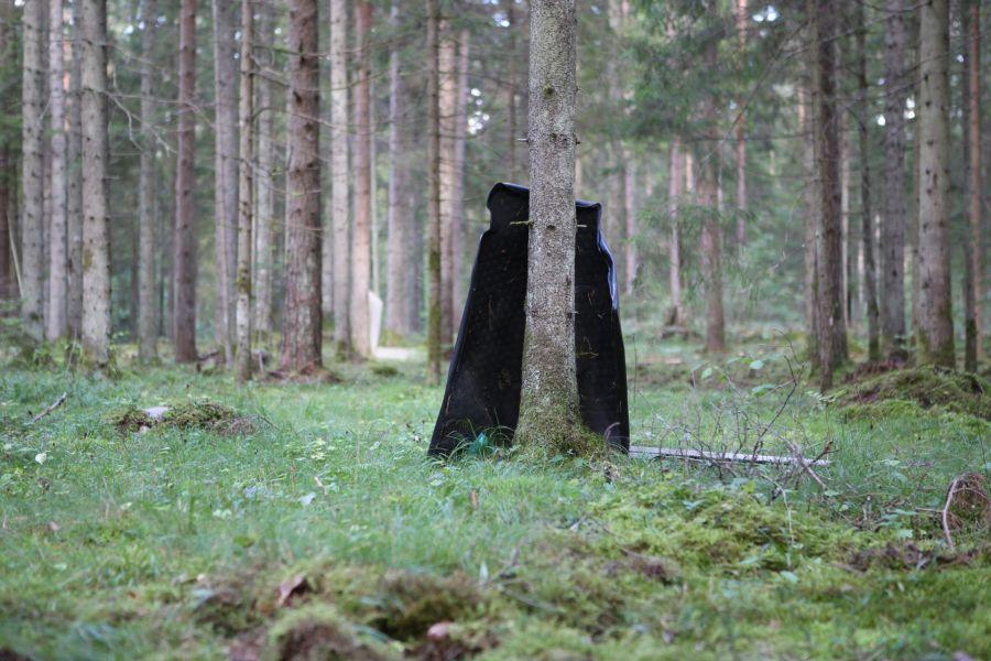 Seeneline pidas Tõrise metsas puu najale toetatud porimatti ekslikult karuks. Fotod: Maanus Masing