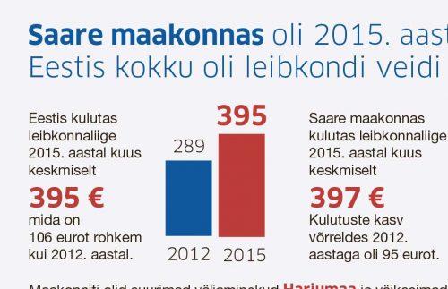 Saare maakonnas oli 2015. aastal statistikaameti andmetel 15 800 leibkonda.Eestis kokku oli leibkondi veidi üle 581 000, leibkonna keskmine suurus oli 2,2 inimest. https://wp.saartehaal.ee/wp-content/uploads/2016/10/leibkonnad2-copy.pdf