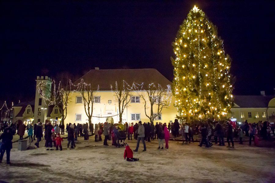 Advendiaja algusele kohaselt avanesid pühapäeval ka taevaluugid ja maa kattus lumega. Kuressaare keskväljakule kogunesid jõulukuuse tulede süütamisele sajad inimesed. Kes soovis, viis pühitsetud jõulutule ka koju kaasa.